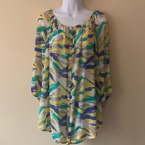 Lane Bryant shirt top yellow blue plus size 22/24